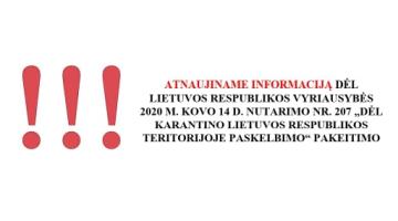 Karantino režimas pratęstas iki birželio 16 d. 24:00 val.